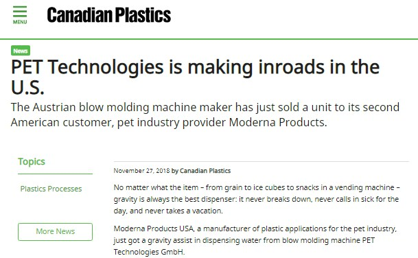 Canadian Plastic sobre PET Technologies